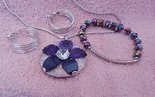 JEWELRY SET LOT VINTAGE FASHION SILVER PENDANT CLIPS EARRINGS BRACELET   9