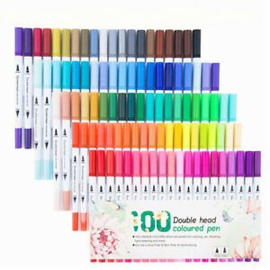 100 Colours Watercolour Brush Pens Set Dual Tips Art Markers For Kids Adults
