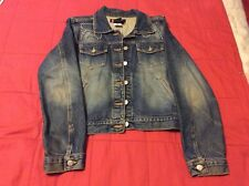Vtg Bongo Women's Denim Motorcycle Jean Jacket With beads Size 3 Med