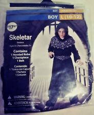 SKELETAR HALLOWEEN COSTUME BOY LARGE (10-12) HOODED ROBE / CHEST PIECE / BELT