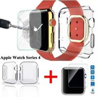 2 IN 1 For Apple Watch Series 4 Tempered Glass Screen Protector + Soft TPU Case