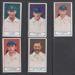 CIGARETTE CARDS Pattreiouex 1926 Cricketers series - (5 cards) 56-60