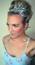 Silver Flower Leaf Diamante Vintage Hair Head Band Choochie Choo Great Gatsby