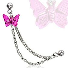 Double Chained Cartilage Earring Hot Pink Butterfly Stainless Steel Dangle A119