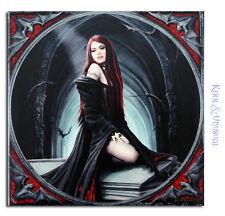 "Anne Stokes Small Art Tile: ""Await the Night"" Gothic Vampire on Coffin"