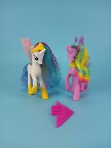 Hasbro 2011 MLP Royal Castle Pegasus Princess Celestia & Purple Rainbow Hair