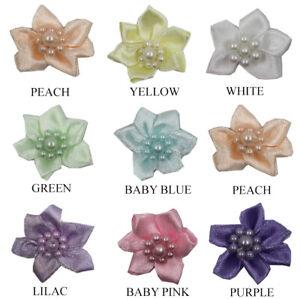 3CM Satin Flower Ribbon Embellishment Pastel Resin Pearl Beads Wedding Favour