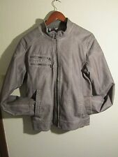 Men's GUESS jacket Pico Long-Sleeve Faux-Leather Jacket, Size Small.