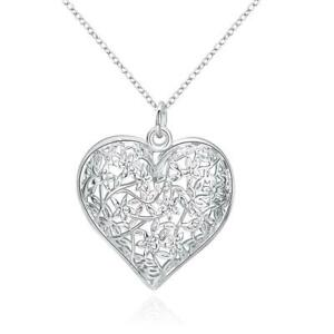 925 Sterling Silver Heart Necklace Filigree Lace Hollow Pendant Chain UK Seller