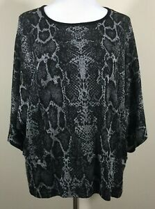 Carolyn Taylor Size 1X Black Snake Print Knit Sweater Sliver Threads 3/4 Sleeve
