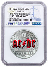 2018 Cook Islands AC DC Black Ice 2 oz Silver Proof $10 NGC PF70 UC FR SKU55162