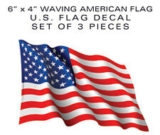 "American Flag Waving 3pcs Bumper sticker decal 6"" patriotic USA US VINYL die-cut"