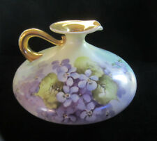 Antique Hand Painted Violets On A Large Stunning Squat Pitcher Beautiful!