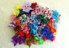 "20 PCS 3-3.5"" Baby Girl Boutique Hair Bows Clip Grosgrain Ribbon Mix style kh"