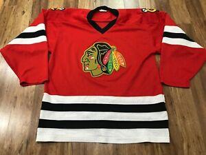 MENS LARGE - Vtg NHL Chicago Blackhawks CCM Glued On Jersey Canada