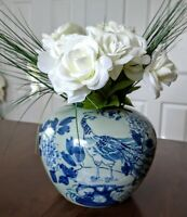 "Vintage Asian  Blue & White / Floral & peacock  Ginger Jar  vase 6.5""  Tall"