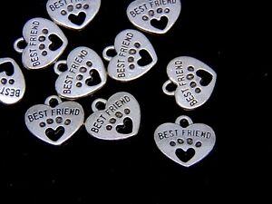 "10 Pcs - Tibetan Silver Best Friend "" Dog "" Paw Print Charms Jewellery Pet A75"