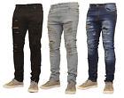 Mens Skinny Jeans Rip Slim fit Stretch Denim Distress Frayed Biker Jeans Boys