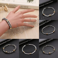 Fashion Mens Silver Stainless Steel Bracelet Wristband Clasp Cuff Bangle Chain