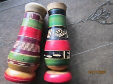 """Vintage Salt Pepper Shakers wood Florida screw tops Mexico colors 3 1/2"""" tall"""