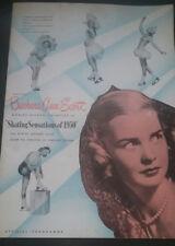 Barbara Ann Scott Autographed Olympic Figure Skating 1950 Troy NY RPI Lions Club