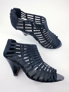 M&S size 5 black faux leather satin strappy zip up peeptoe cone heel sandals