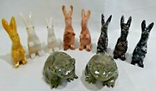 8 Jasper Hand Carved Stone Rabbits &  2 Frogs  (A)