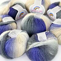 AIP Soft Cashmere Wool Colorful Rainbow Wrap Shawl DIY Hand Knit Yarn 50grx8 15