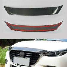Carbon Fiber Engine Cover Exterior Hood Bar Trim Strip for Mazda 3 Axela 2014-17