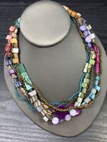 "Necklace Coin MOP Shell Beaded Bohemian Multi Strand necklace  18"" Pastel Color"