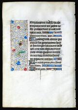 MEDIEVAL ILLUMINATED MANUSCRIPT  BOOK OF HOURS LEAF 1450, PSALMS, GOLD