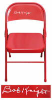 Bobby Knight HOOSIERS Signed Full Size Red Metal Folding Chair - SCHWARTZ COA