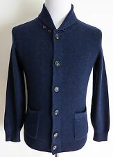 $2360 BRUNELLO CUCINELLI Blue 2Ply English Rib Cashmere Cardigan Sweater 56 Euro