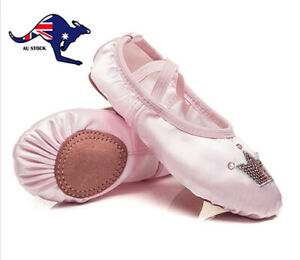 Satin Princess Kids Toddler Girls Embroidered Ballet Slippers Dance Shoes