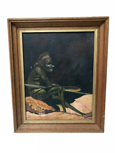 Vintage Artwork of Aboriginal Man - Oil on Board