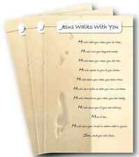 """NEW! 3-Pack Cards w/ Envelopes-""""Jesus Walks With You"""" Greeting Cards"""