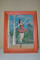 Vintage Paint By Numbers Painting Mid Century Ballerina - Framed