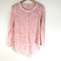 Sundance Catalog Blouse Top Size XS Pink High Low Hem Long Sleeve