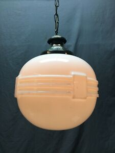 Antique Large Art Deco Hanging  Milk Glass Globe Brass Decorative Vtg 1186-20B