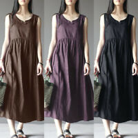 UK Womens Sleeveless Round Neck Baggy Long Vest Tank Dresses Ladies Maxi Dress