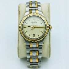 Vintage Gucci Swiss All Stainless Steel Day/Date Mens Wrist Watch 9040 M#0038594