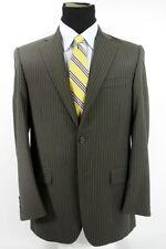 Burberry London 2 Btn Brown Striped Men's Suit Jacket Pants Wool 38 R x 31 W