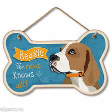 Wood Dog Bone Shape Sign w/Rope - BEAGLE - The Nose Knows All -  NEW