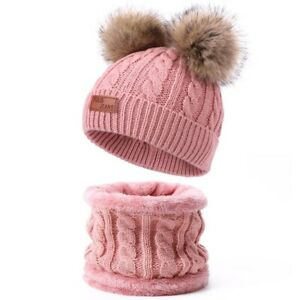 Two Pieces Hat Scarf Set Beanie Cap Children's Hats Girls Caps Fake Ball Pompon