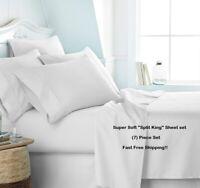 (7) PIECE SPLIT KING SIZE SUPER SOFT DEEP POCKET SHEET SET BED SHEETS
