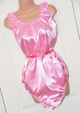 SSX 6x - Nappy / diaper crotch double satin silky sissy rompers, BN, XL AB pink