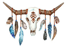 COW BULL SKULL & TRIBAL FEATHERS WALL ART * LARGE A3 SIZE QUALITY CANVAS PRINT