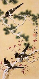 100% ORIGINAL FINE ART CHINESE WATERCOLOR PAINTING-Happy bird lover&Plum blossom