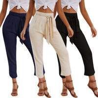 Women High Waist Jogger Pants Casual Tie Front Office OL Skinny Slim Trousers US