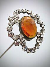 Antique Hatpin Sweet Honey-amber Center. Delicate Feminine Surround. Collectible